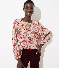 Petite Floral Draped Sleeve Top