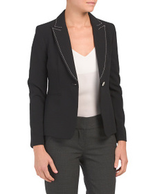 TAHARI BY ASL Petite Pic Stitch One Button Jacket