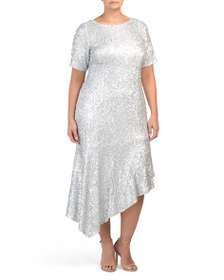 ADRIANNA PAPELL Plus Sequin Midi Bias Dress