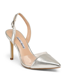 CHARLES DAVID Ankle Strap Vinyl And Leather Pointy