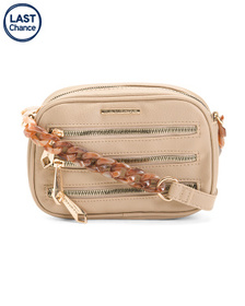 RAMPAGE Triple Zip Crossbody With Chain Detail