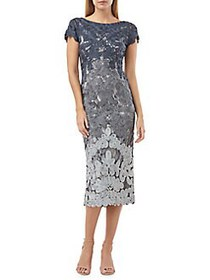 JS Collections Boatneck Embroidered Midi Dress NAV