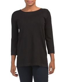CABLE & GAUGE Boat Neck Tunic With Zipper Detail