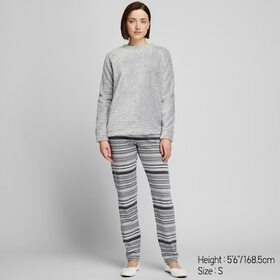WOMEN FLEECE LONG-SLEEVE SET, GRAY, medium