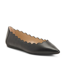 reveal designer Leather Scalloped Comfort Flats