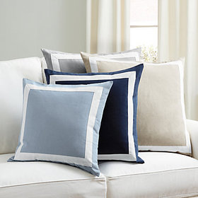 Bordered Linen Pillow Cover