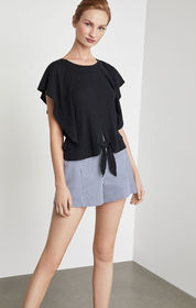 BCBG Tie Front Cropped Top