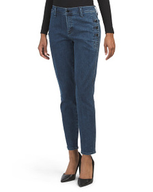 J BRAND Zion Button Detail Mid Rise Skinny Jeans