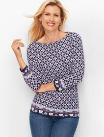 Talbots Cotton Bateau Neck Tee - Border Print