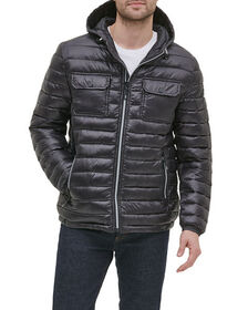 Kenneth Cole New York Men's Hooded Faux Leather Ja