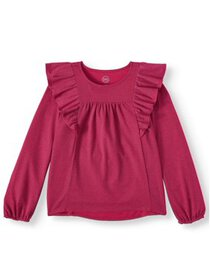 Wonder Nation Girls Long Sleeve Ruffle Top