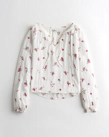 Hollister Tie-Front Peasant top, WHITE FLORAL