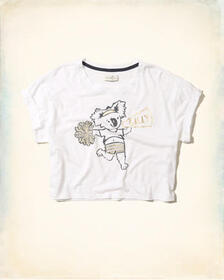 Hollister Crop Graphic Tee, White With Shine