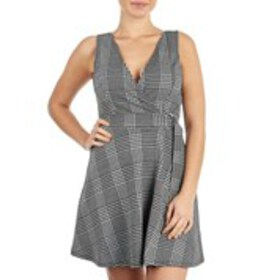 Juniors Hounds Tooth Faux Wrap D-Ring Sleeveless D