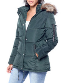Kendall & Kylie faux fur trim hooded puffer jacket