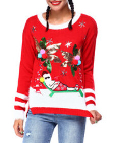 Fashion Lab palm tree santa l/s sweater