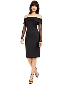 Off-The-Shoulder Illusion-Sleeve Dress
