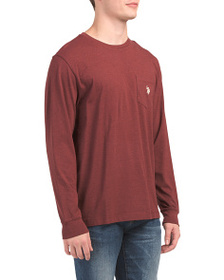 US POLO ASSOCIATION Long Sleeve Heather Pocket Tee