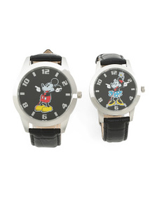 DISNEY His And Hers Mickey And Minnie Leather Stra