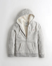 Hollister Sherpa-Lined Full-Zip Hoodie, HEATHER GR
