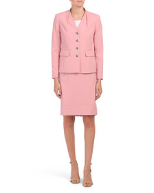 TAHARI BY ASL Petite Button Jacket And Skirt Suit