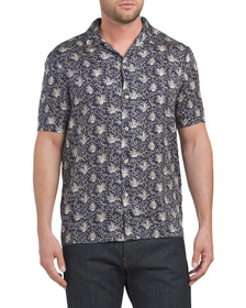 FRENCH CONNECTION Lyocell Palm Print Shirt