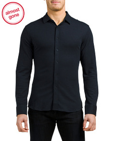 VINCE CAMUTO Long Sleeve Stretch Pique Knit Shirt