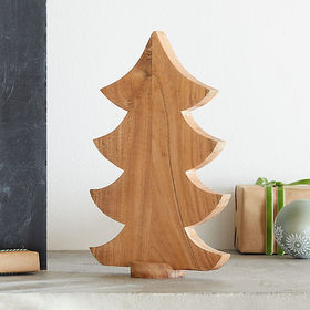Crate Barrel Large Wooden Tabletop Christmas Tree