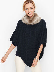 Talbots Textured Cableknit Poncho