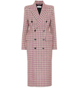Balenciaga Hourglass checked wool coat