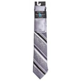 STEVE HARVEY Mens Extra Long Striped Print Tie And