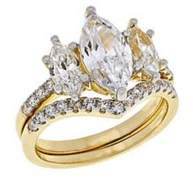 Absolute™ Gold-Plated 3-Stone Marquise 2-piece Rin