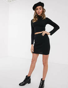Brave Soul ribbed sweater and skirt set in black