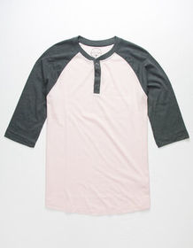 BIRCH BLACK Raglan Gray Mens Henley_