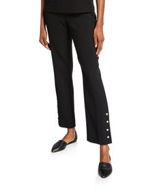 Lela Rose Wool Crepe Pearly Button-Front Pants