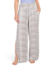 BLUE ISLAND Snake Print Flat Cover-up Pants