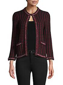 Alice + Olivia Georgia Checker Knit Short Jacket B