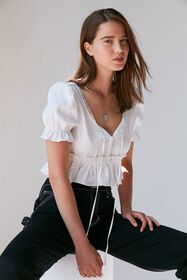 Lioness Ruffle Tie-Front Cropped Top