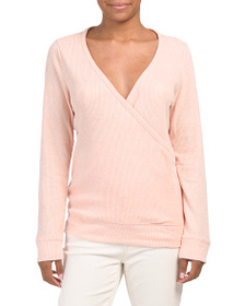 reveal designer Ribbed Wrap Front Top