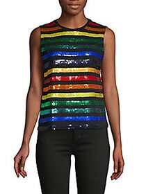 Alice + Olivia Miller Rainbow Sequin Boyfriend Tan