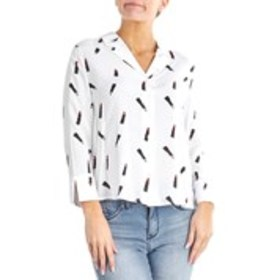 COMO BLACK Notch Sleeve Graphic Button Up Blouse