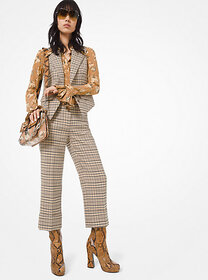 [object Object] Plaid Stretch-Wool Cuffed Trousers