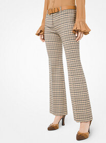 [object Object] Plaid Stretch Wool Flared Trousers