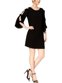 MSK Womens Petites Bow-Sleeves Mini Cocktail Dress
