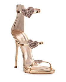 Giuseppe Zanotti Metallic Leather Heart Sandals