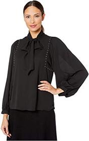 Vince Camuto Long Sleeve Puff Shoulder Embellished