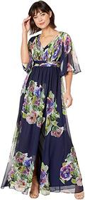 Adrianna Papell Printed Chiffon Evening Gown