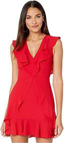 BCBGMAXAZRIA Short V-Neck Dress with Ruffle Detail