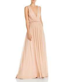 BCBGMAXAZRIA - Plunging Silk Chiffon Gown with Swa
