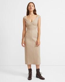 Off The Shoulder Dress in Wool Twill